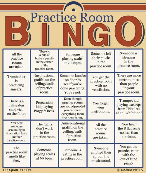 Practice Room Bingo