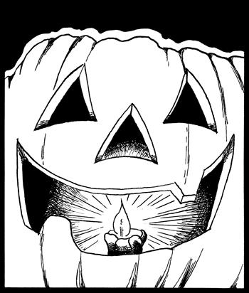 Black and white jack-o-lantern
